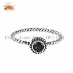 Iolite Gemstone Oxidized Antique 925 Silver Ring
