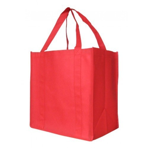 Jmrg Red Loop Handle Plain Non Woven Bag, Capacity: 5kg
