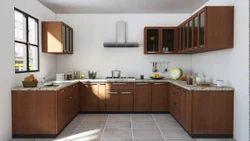 UHS Wooden U Shape Modular Kitchen, Warranty: 10-15 Years, Kitchen Cabinets