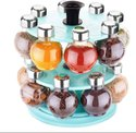 360 Degree Revolving Round Shape Transparent Pack Of 16 Jar - 360 Double Spice Rack