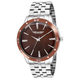 Chrome and Brown Allisto Europa ALM81 Brown Dial Watch for Men