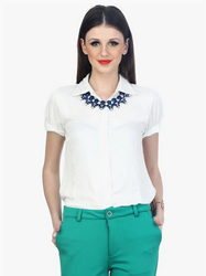 Faballey White Solid Shirt
