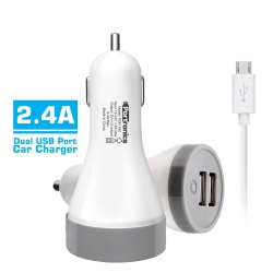 Portronics Car Charger 2.4A with Dual USB Port, 24V DC, DC Output 5V At 2.4 Amps