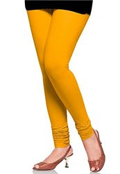 Churidar Plain Ladies Yellow Cotton Lycra Legging