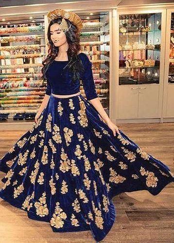 66109a88d41 Party Wear And Designer Beautiful Blue Velvet Lehenga Choli