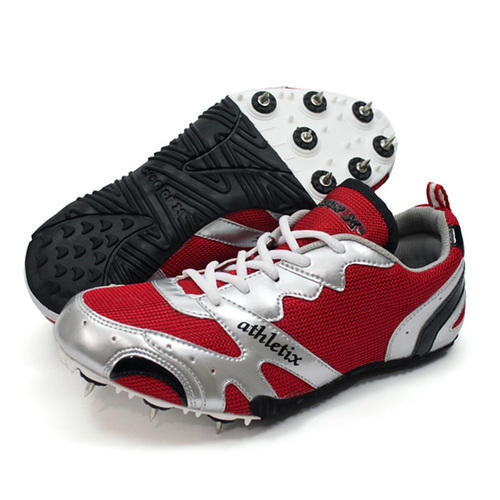 Men Red Running Spikes Shoes, Size: 6
