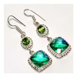 Mystic with Peridot 925 Sterling Silver Fashion Earrings