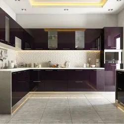Wood Residential Modular Kitchen