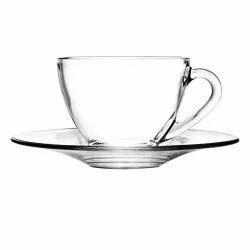Transparent Glass Ocean Extensive Cup Saucer Set for Home, Restaurant