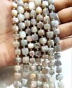 Natural Peach Moonstone AB Mystic Coated 8-10mm Cube Box Shape Jewelry Making Beads Strand 8 inches