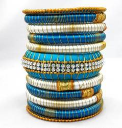 Blue And White Silk Thread Bangle Set