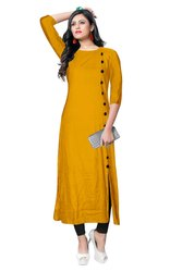 3/4th Sleeve Yellow Rayon Kurtis, Size: M ,L, XL& XXL