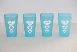 Blue 200ML Plastic Water Glass Set