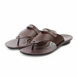 Mens Brown Flip Flop Casual PU Slippers
