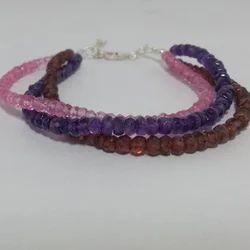 Natural Amethyst Garnet Pink Topaz Beaded Bracelet