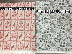 Jute Pearl Jari Print Fabric