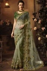 Pastel Green Designer Net Saree