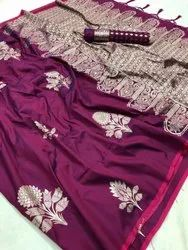 Bridal Silk Embroidery Sarees, With Blouse, 5.5 m (separate blouse piece)