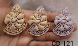 Shree Gautam Creation Peach American Diamond Earrings, Size: Medium
