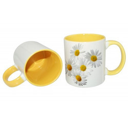 Sublitech White & Yellow Printed Mugs, Capacity: 350 Ml, Size/Dimension: 11oz