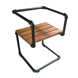 Black and Brown Powder Coated Pipe Chair, For Outdoor