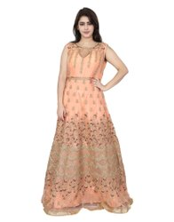 Festive Wear Peach Embroidery Gown, Size: Freesize