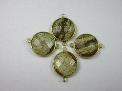 Picture Jasper Bezel Set Gemstone Connector