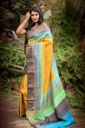 Tulip Party Wear Zari Border Tussar Silk Saree Block Print, 6.5 mtr (with Blouse Piece)