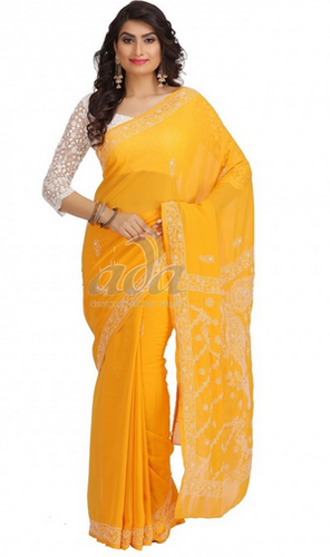 Yellow Faux Georgette Lucknow Chikan Saree
