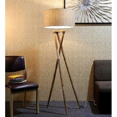 3 Leg Cream Fabric Floor Lamp