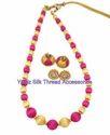 Yaalz Traditional Simple Neckset & Matching Jumka Combo In Pink And Cream
