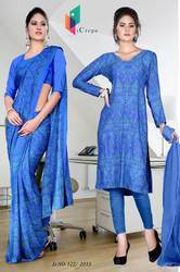 Sea Blue Italian Crepe Uniform Saree Kurti Combo