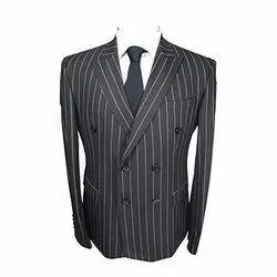 Party Wear Chalk Stripe Black Coat