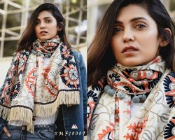 MESMORA Cotton Khadi embroidered Stole