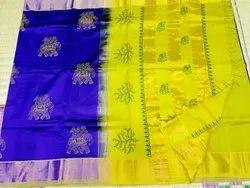 Printed Cotton Silk Saree, Length: 6.3 m with Blouse Piece