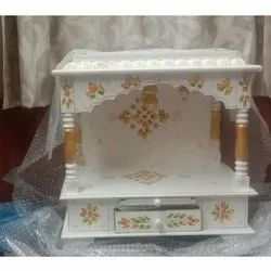 White Handcrafted Wooden Temple, For Home,Office etc