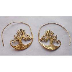 Handmade Spiral Gold Plated Brass Earrings