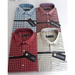 Leo Paulo Cotton Mens Checked Formal Shirt