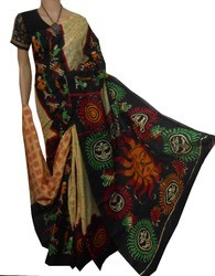 Malti Coler boutique saptaparni Malmal Cotton Saree, Hand, 6.3 m (with blouse piece)