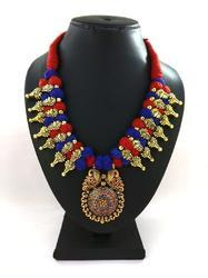 Imitation Oxidized Necklace with Meenakari Work