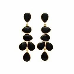 Black Onyx Gold Plated Gemstone Earring