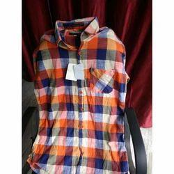Cotton Collar Designer Check Casual Shirt, Size: Medium And Large