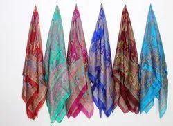 35 x 70 inch Cotton Pure Silk Tabby Printed Scarfs