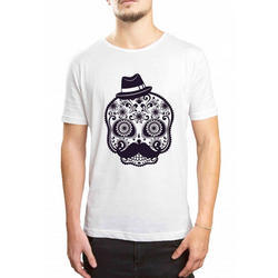 Mens Cotton White Printed T Shirt, Size: S - XXL