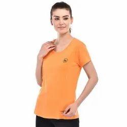 Bazarville Half Sleeve Orange Girls Cotton T-Shirt