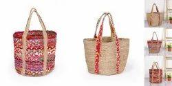 Summer Womens Bohemian Hand Braided Jute Handbag