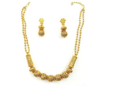 Gold Plated Necklace Set In Temple Jewellery Gold Necklace