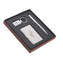 Metal Pen Card Holder and Key Chain Set