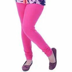 Bawri Plain Ladies Pink Cotton Lycra Churidar Leggings, Size: Free Size