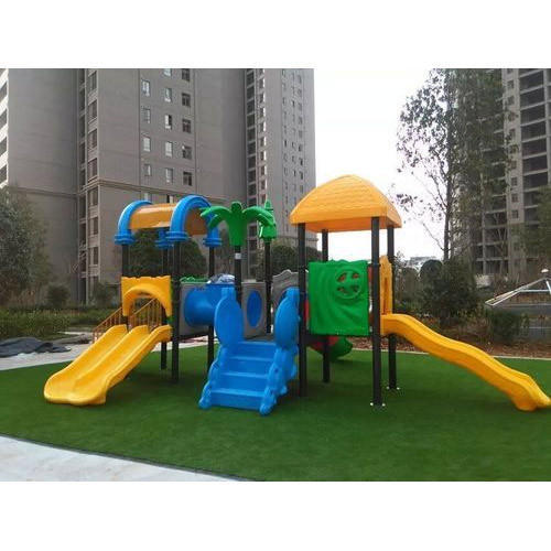 Just Work Green And Yellow Children Outdoor Playground Slide